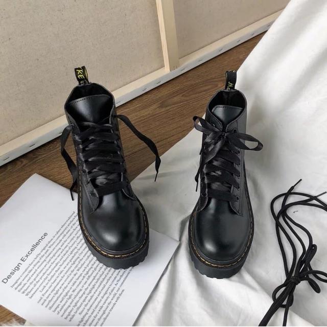(CÓ SẴN - Video,Ảnh thật) Giày Boot Da Cổ Cao Kèm 2 Kiểu Dây