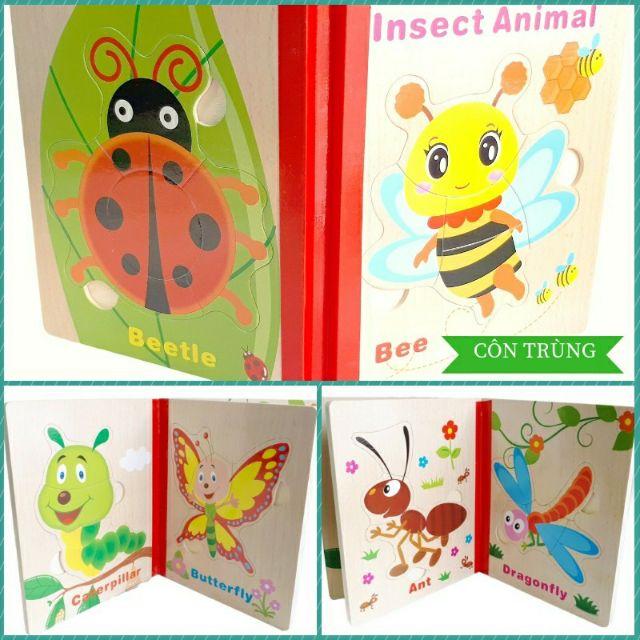 Sách gỗ ghép tranh trí tuệ khéo léo cho bé