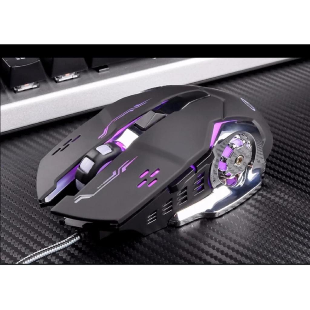 Chuột game thủ cực bền thiết kế độc lạ có LED nhiều màu (Đen Bạc) -dc2386đ