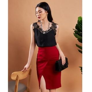 Chân váy đỏ xẻ trước thiết kế Elise thumbnail