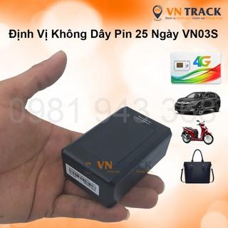 Thiết Bị Định Vị Không Dây GPS Pin Khủng 25-27 Ngày VN03S (VN03E+) Pin 7800mAh, Nghe Âm Thanh, Chính Hãng VNTRACK