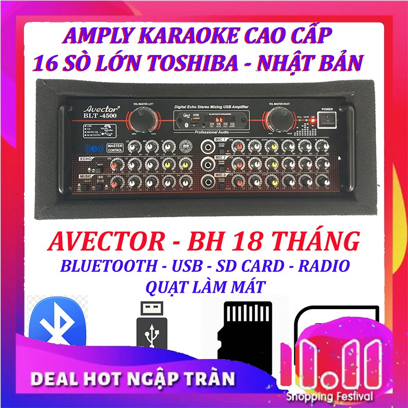 Amply karaoke ampli bluetooth nghe nhac amply karaoke hay cao cấp avector 4 5 0 0 hát karaoke cực hay