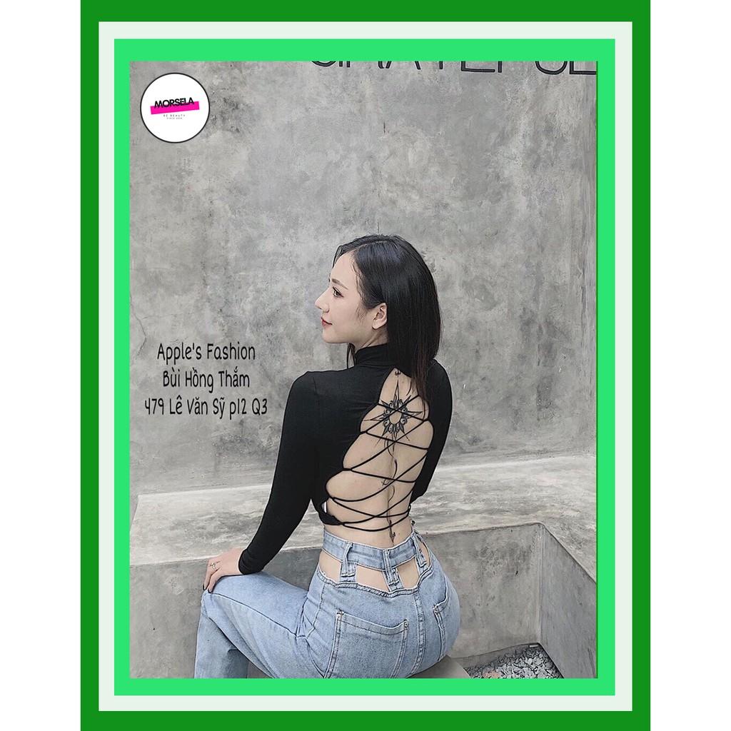 Áo croptop nữ tay dài cổ lọ đan lưng sexy - Áo crop top nữ dài tay - Morsela