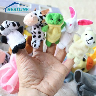 BL 10Pcs/Pack Baby Kids Animal Finger Plush Toys Educational Story Cloth Puppets
