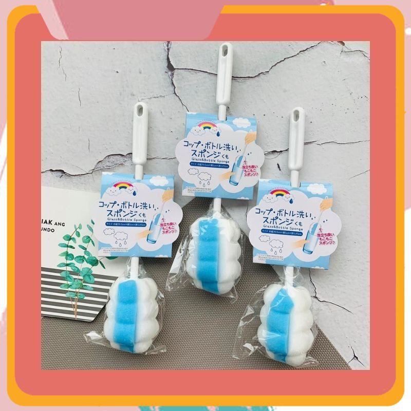 [Sale Siêu Hot] Dụng cụ cọ rửa chai lọ, bình sữa mút xốp (màu xanh,trắng) chất liệu mút cao cấp