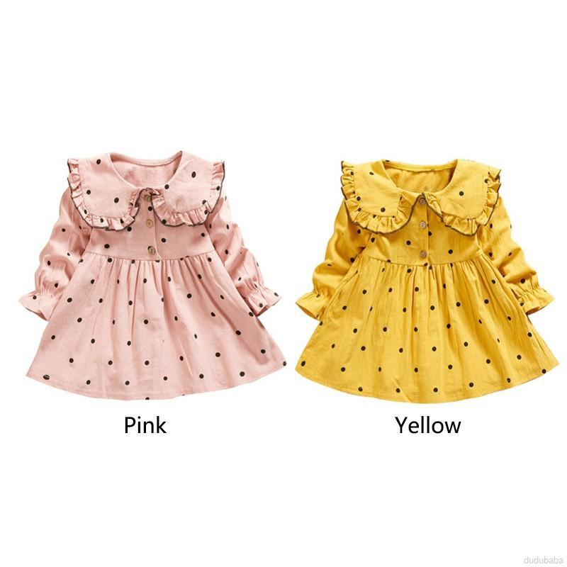 Đầm dáng chữ a tay dài họa tiết chấm bi dễ thương thời trang xuân thu cho bé gái 1 - 4 tuổi
