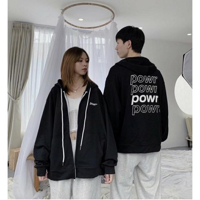 Áo khoác nỉ hoodie power unisex nhiều màu phom rộng cá tính