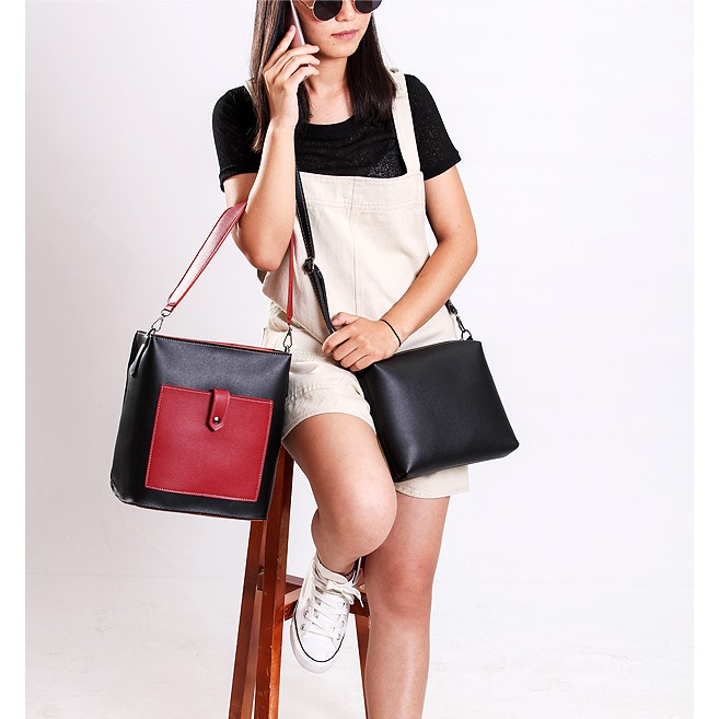 Bộ 2 túi xách và túi đeo chéo nữ Hàn Quốc cực xinh