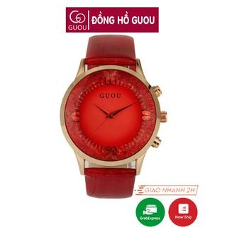 Đồng hồ nữ đeo tay dây da Guou viền mạ vàng chính hãng chống nước tuyệt đối 8017 thumbnail