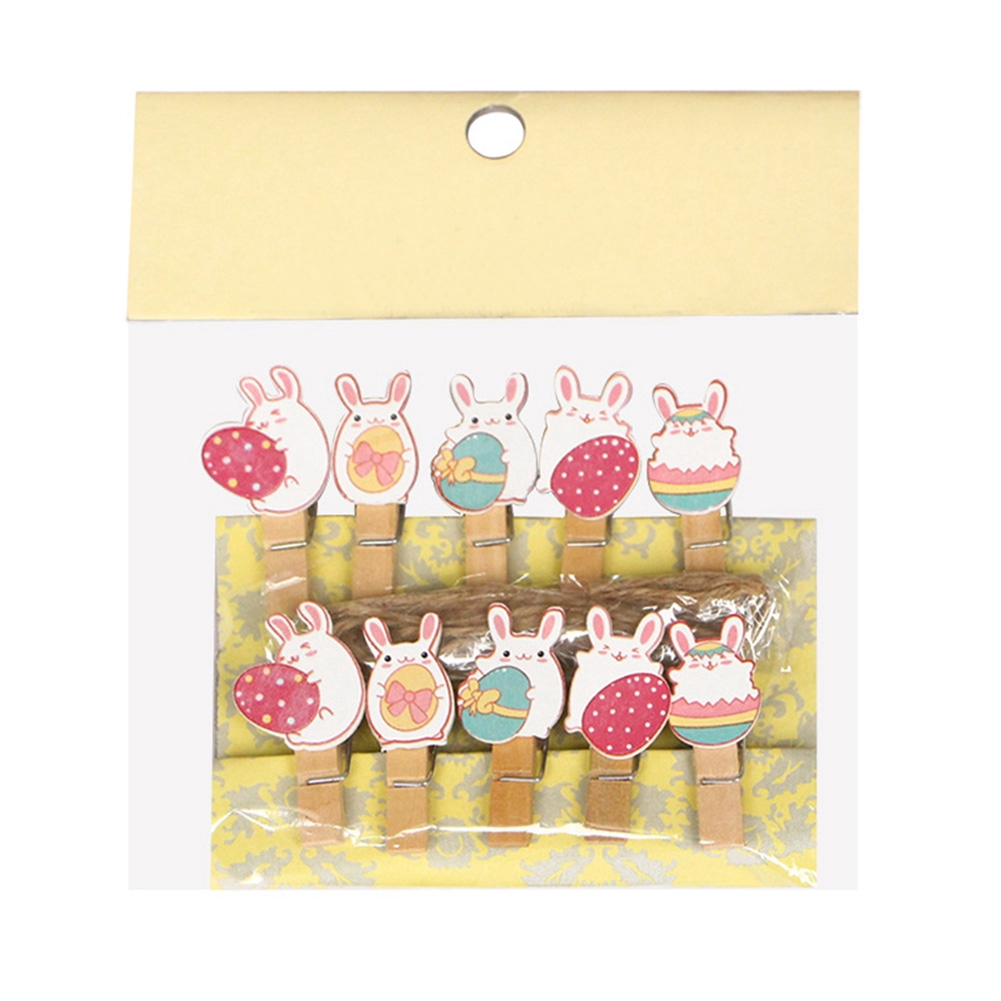 10pcs/set Memo DIY Message Bunny Cartoon Holder Easter Lovely Craft Party Decoration Wooden Photo Clips
