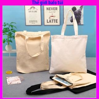 Túi vải Canvas tote nữ trơn trắng đen ngà, phù hợp làm quả tặng,mua thêu vẽ lên sp tùy thích thumbnail