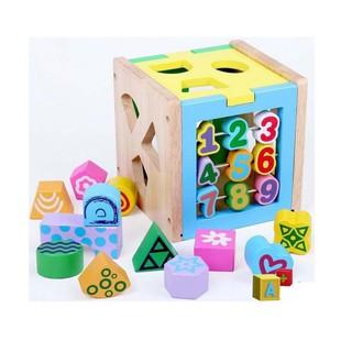 Hộp số thả hình 038   Hộp thả hình khối bằng gỗ   đồ chơi gỗ kidstoys   đồ chơi gỗ an toàn cho bé tại Hà Nội
