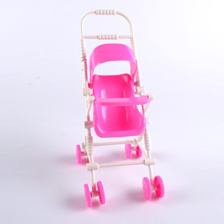 Children Toy Doll Cart Plastic Furniture Stroller Girls Classic Toys Trolleys Dolls Accessories