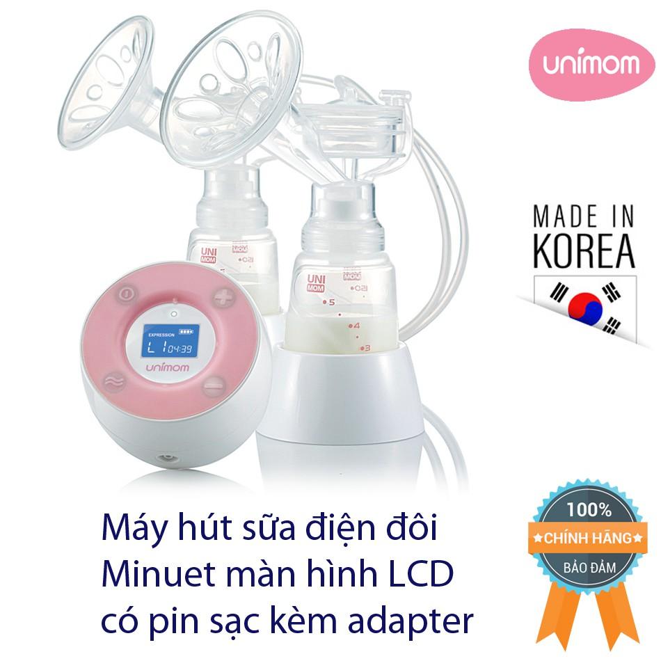 Máy hút sữa điện đôi Minuet Hàn Quốc màn hình LCD pin sạc kèm adapter UM872019