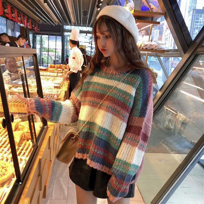 Young Japanese style long-sleeved sweater for women