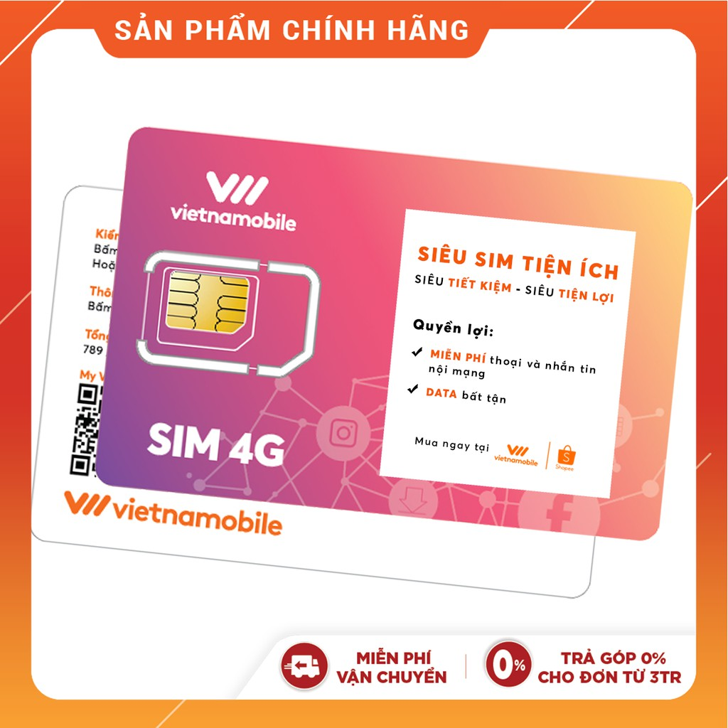 Siêu Sim Tiện Ích Miễn phí Data Gọi & SMS nội mạng-Duy trì chỉ 20k/tháng-Vietnamobile
