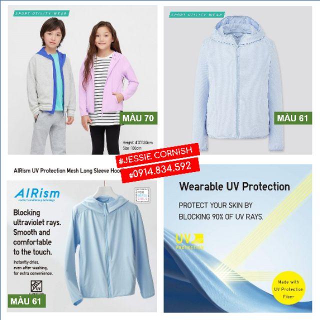 Áo chống nắng acn trẻ em kid Uniqlo vải mát cotton airism cho bé trai gái 3-6 tuổi chính hãng Nhật đủ màu, bill, có sẵn