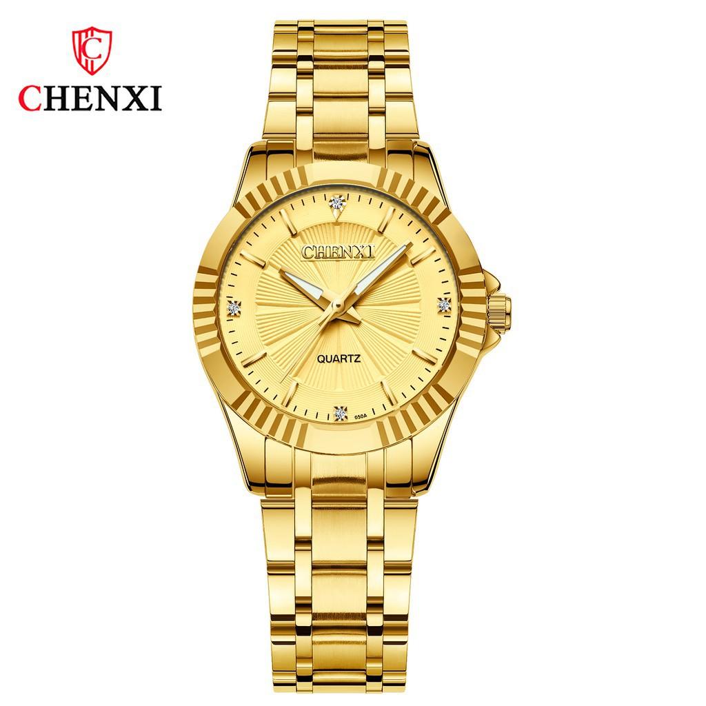 Đồng hồ nam nữ Chenxi -Đồng hồ nam dây thép đúc đặc không gỉ-Mặt chống xước