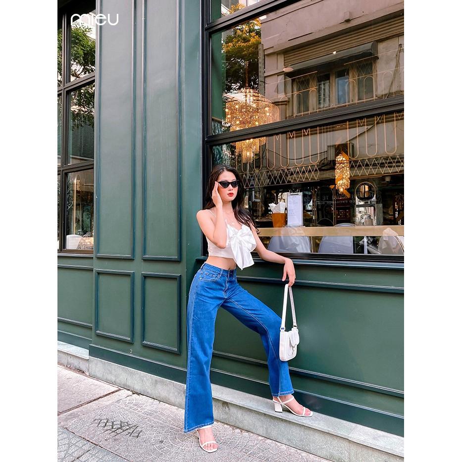 Quần Jeans MIEU ống suông (Xanh vừa) - GF12