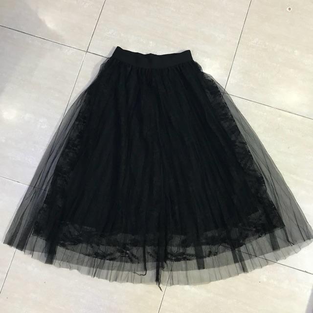 Chân váy ren dáng dài