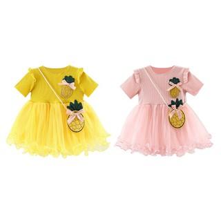 Đầm cotton xòe tay ngắn cổ tròn màu trơn có túi nhỏ xinh xắn cho bé