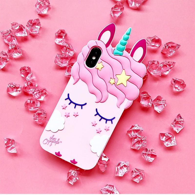 🏅ốP LưNg Silicone Có HìNh Unicorn Dễ ThươNg Cho Iphone X 8 7 6 6S 5 5S Se Samsung S8 S9 Plus