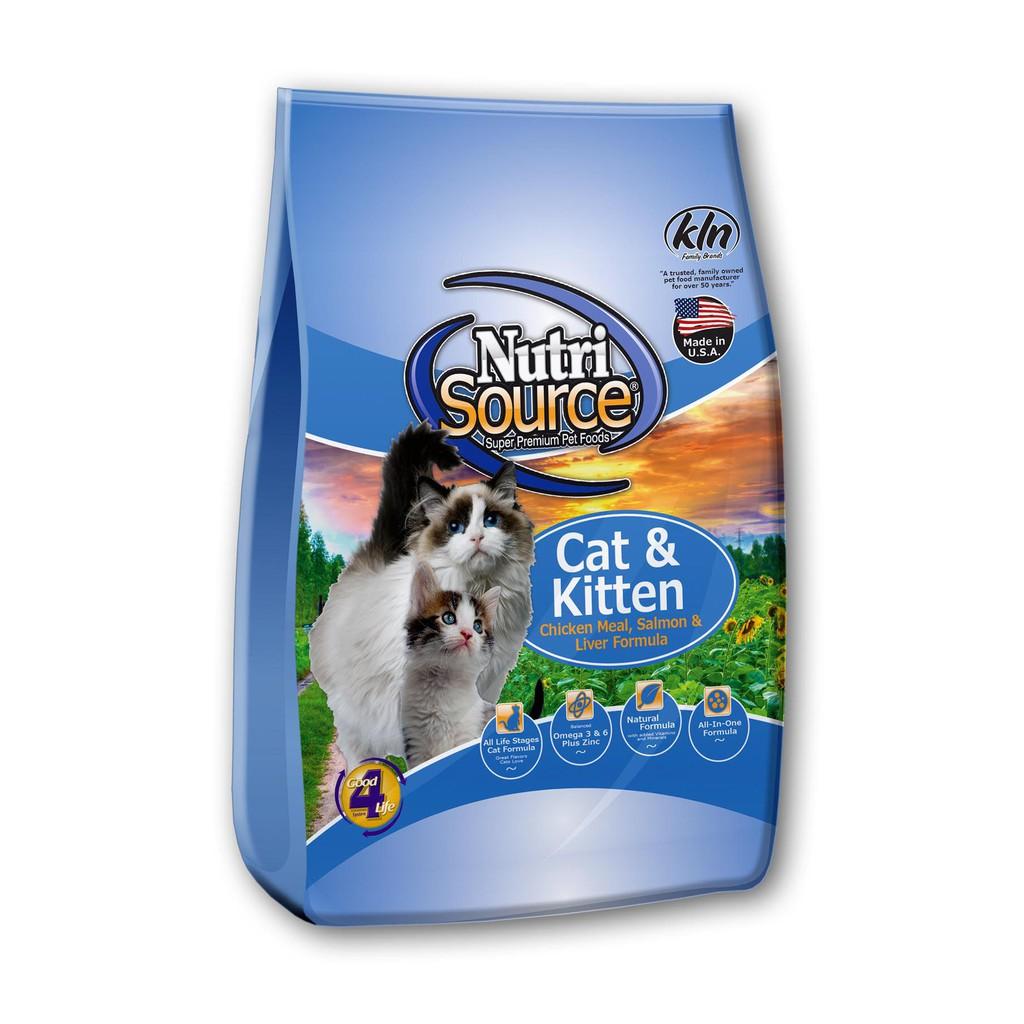 Thức ăn hạt cho mọi lứa tuổi mèo Nutri Source hương vị gà, cá hồi và gan - 3kg