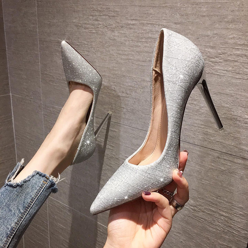 Giá bán Giày cao gót mũi nhọn phối kim sa lấp lánh thời trang cho nữ