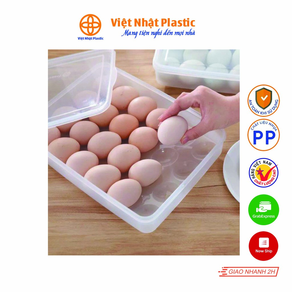 Khay đựng trứng 24 ngăn có nắp đậy bảo quản tủ lạnh Việt Nhật Plastic 6786