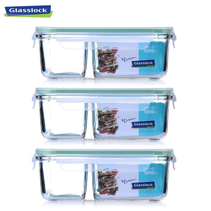 Combo 3 hộp thủy tinh 2 ngăn Glasslock MCRK100 1000ml Hàn Quốc
