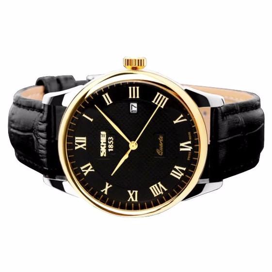 Đồng hồ nam dây da SKMEI DHSK119 (Mặt đen)