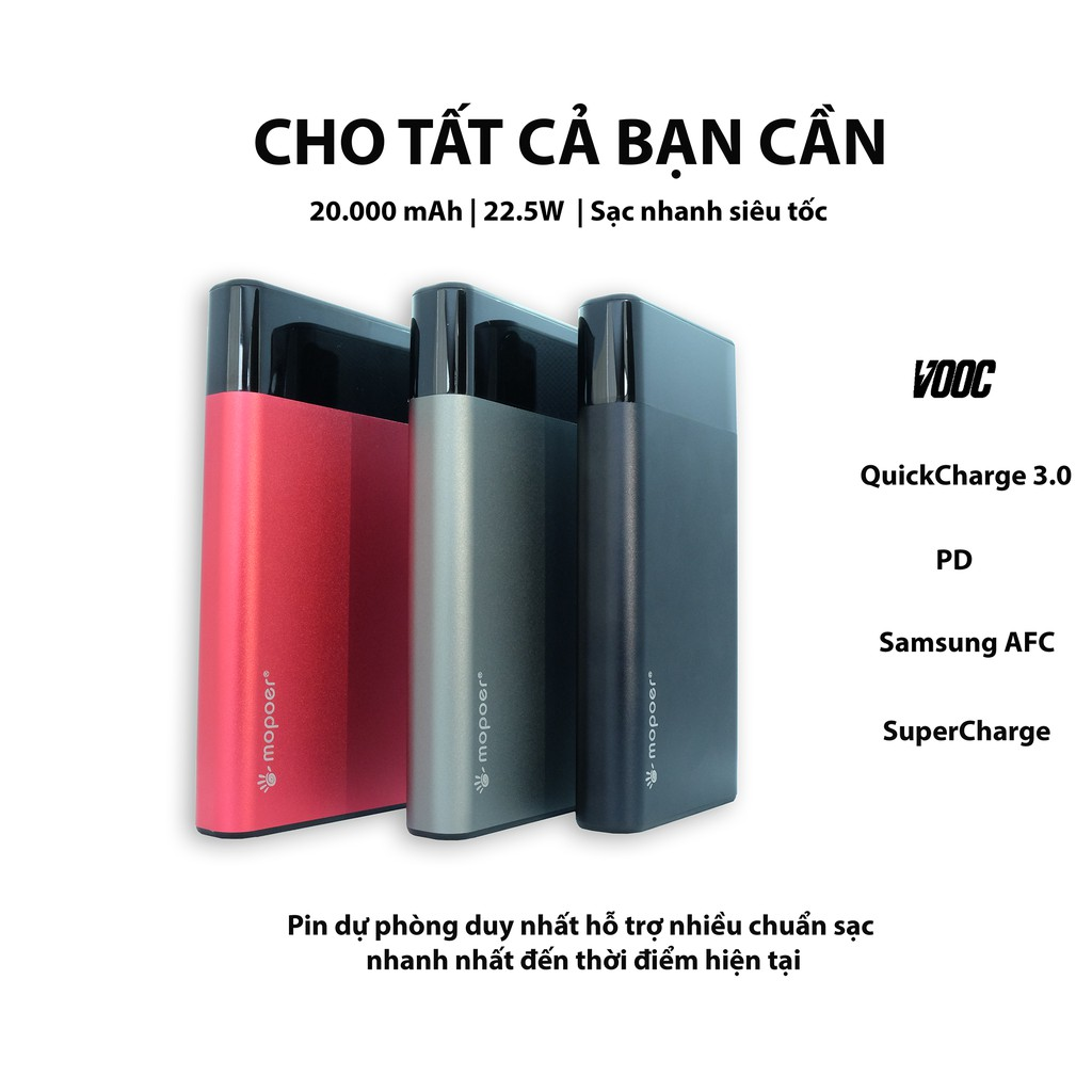 Pin dự phòng Mopoer 20.000mAh hỗ trợ Vooc 3.0/ Dash/ QuickCharge 3.0/ SuperCharge cho OPPO/ Realme/OnePlus/ Huawei/
