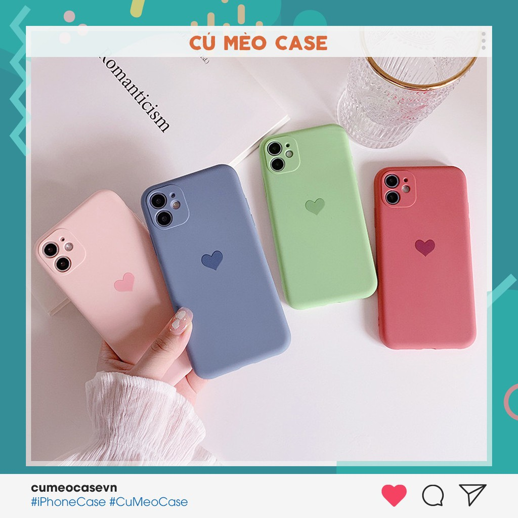 Ốp trái tim bảo vệ camera màu pastel iPhone 7 8 7 Plus 8 Plus X Xs Xr XsMax iPhone 11 11 Pro 11 Promax