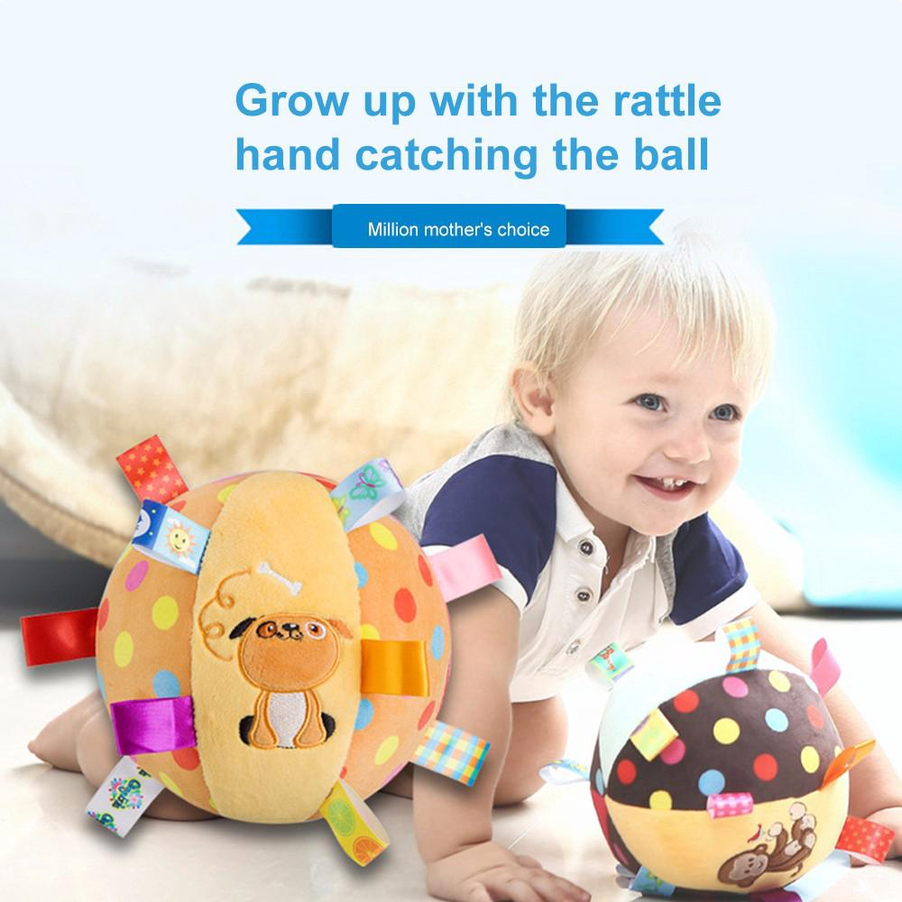 Baby Rattles Appease Round Roll Ball Doll Ring Bell Stroller Hanging Toy