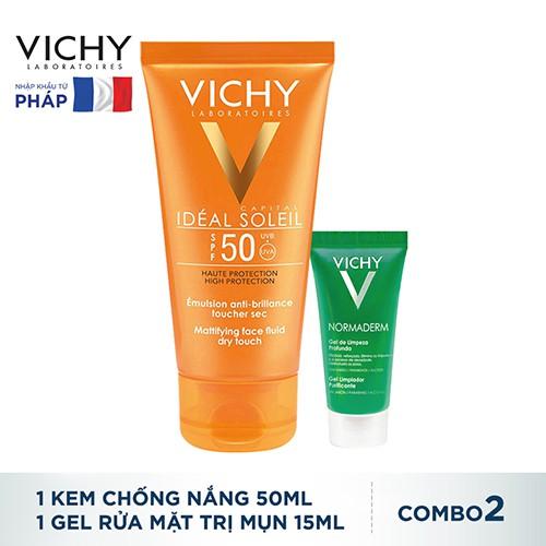 Bộ đôi Kem chống nắng Vichy Ideal Soleil Dry Touch & Gel rửa mặt Normaderm_TUVC00039BD - 3364976 , 826486826 , 322_826486826 , 505250 , Bo-doi-Kem-chong-nang-Vichy-Ideal-Soleil-Dry-Touch-Gel-rua-mat-Normaderm_TUVC00039BD-322_826486826 , shopee.vn , Bộ đôi Kem chống nắng Vichy Ideal Soleil Dry Touch & Gel rửa mặt Normaderm_TUVC00039BD