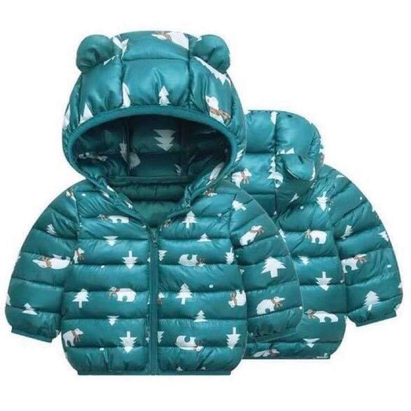 Áo Phao Cho Bé Có Mũ Tai Gấu Hoạ tiết Giáng Sinh (áo phao quảng châu)