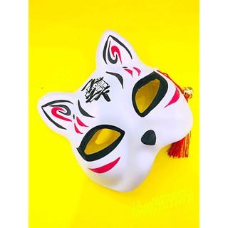Mặt nạ mèo vẽ Nhật Bản – kèm chuông nhỏ và tua rua mã CLH74 Fcho nam và nữ