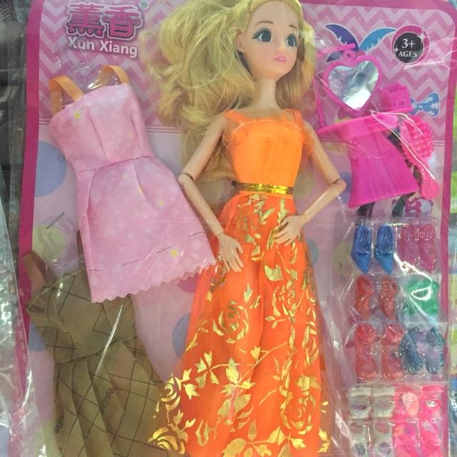 Bộ búp bê mặc váy dự tiệc kèm phụ kiện