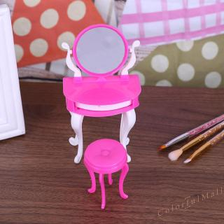 [Doll House] Miniature Dresser Chair Set Girls Play House Bedroom Toy for Girls Doll