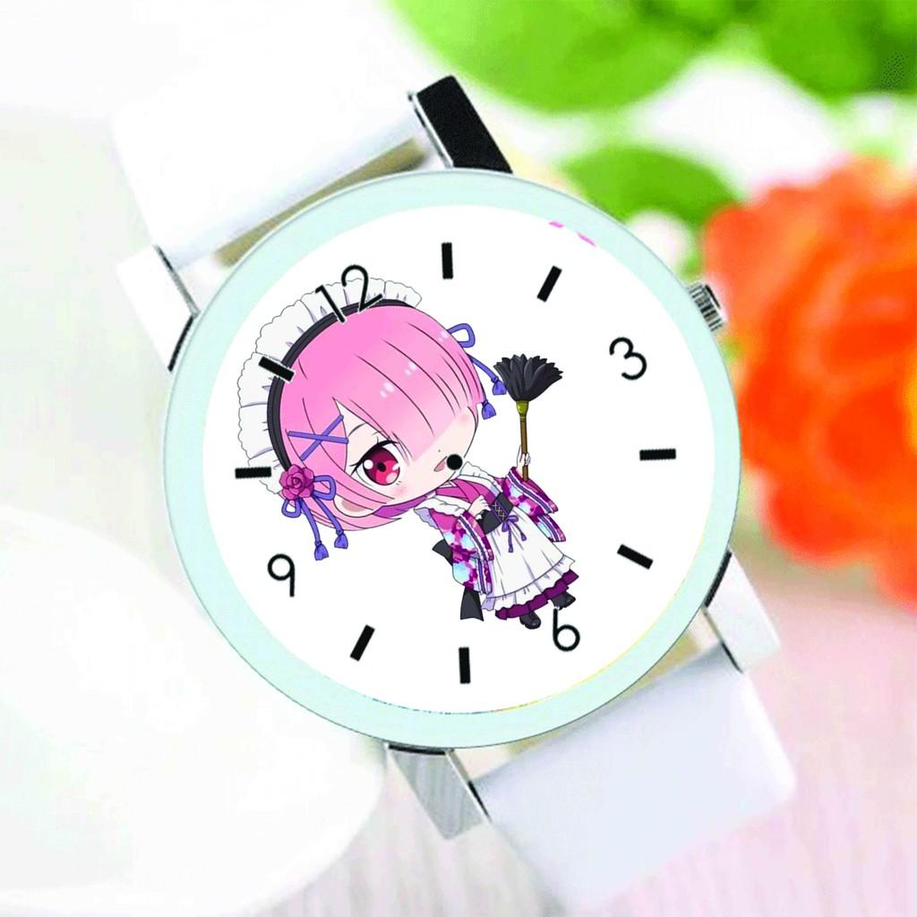 Đồng hồ đeo tay nam nữ in hình RE:ZERO Bắt Đầu Lại Ở Thế Giới Khác anime chibi thời trang dễ thương độc đáo