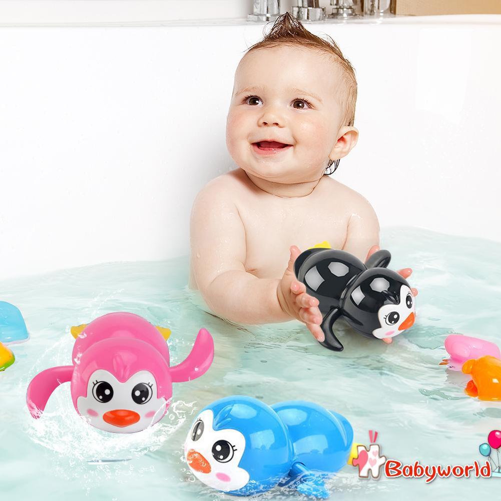 Baby Bathing Toy Shower Games Children Bath Floating Clockwork Penguin Toys
