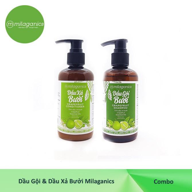 Bộ Dầu Gội và Dầu Xả Bưởi ngăn ngừa rụng tóc, nuôi dưỡng và Kích Thích Mọc Tóc Milaganics (200ml/ chai)