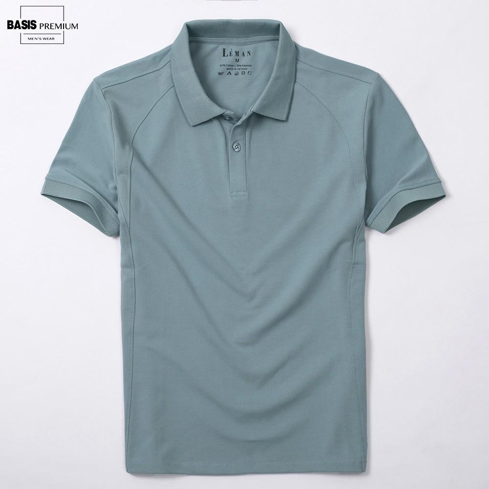 Áo polo nam màu xanh jade họa tiết trơn phối gân dọc đơn giản APL37