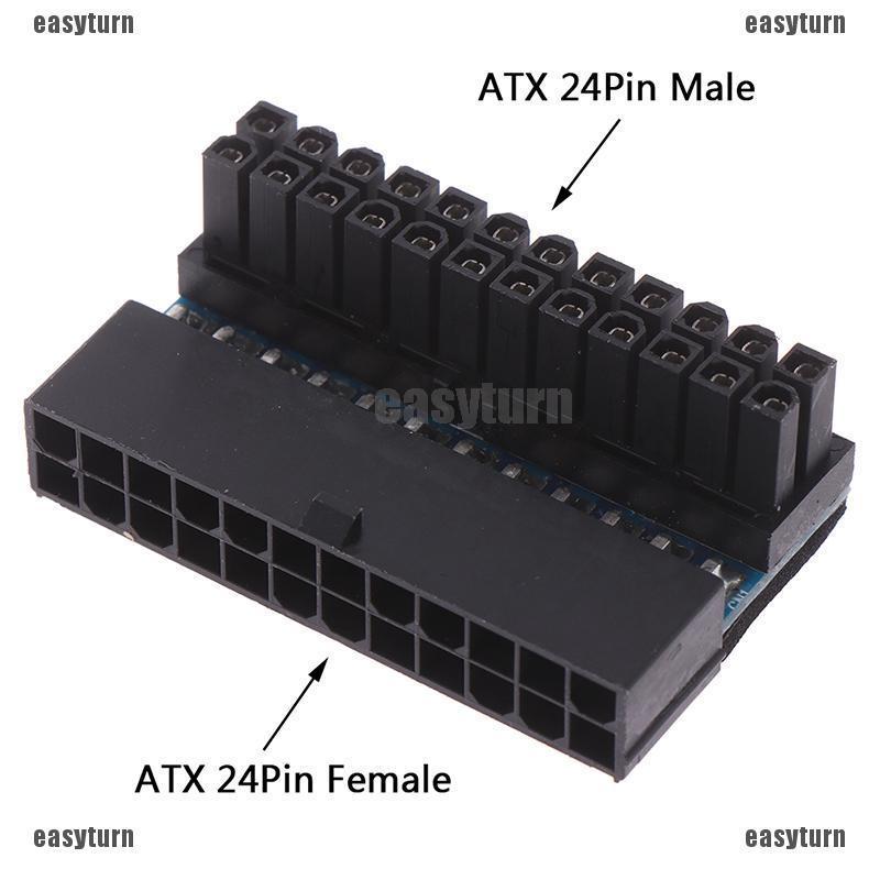 Mainboard Motherboard EVA ATX 24Pin to 24Pin 90 Degree Power Connector Adapter