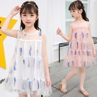 Đầm voan in hình lông vũ cho bé gái