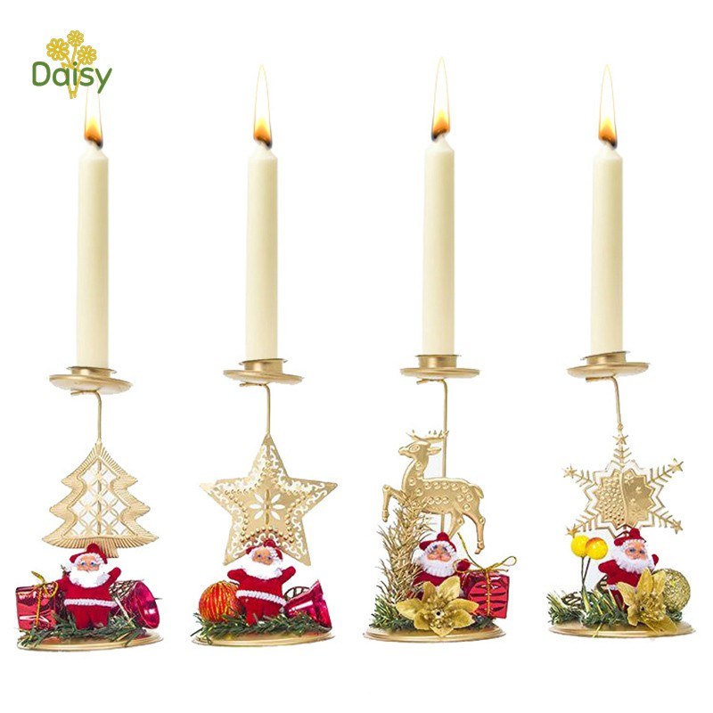 Candlestick Candle Holder Christmas Tree Festival Party Decoration Durable Ornament