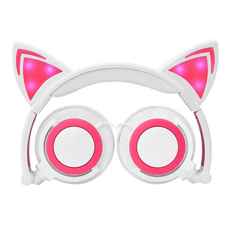 Tai nghe, headphone mèo hồng (có đèn LED)