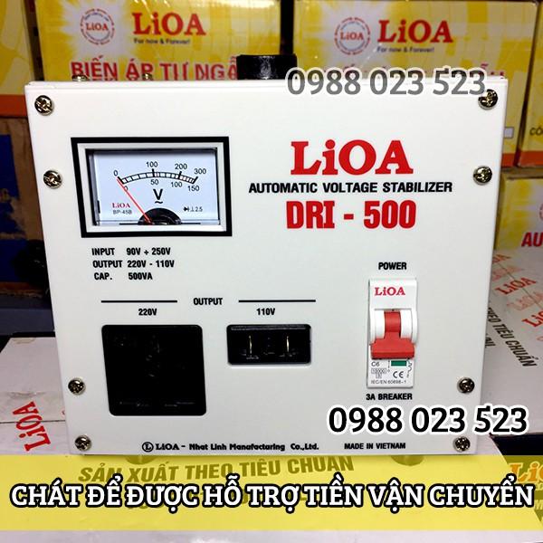 Ổn áp LIOA 1 pha 500VA(500W) Đời 2018 kéo điện từ 90v lên 220v DRI 500