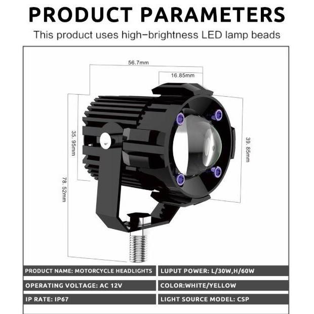 Bộ 1/2 đèn pha LED Kevanly chống sương mù chuyên dụng tiện lợi dành cho xe máy