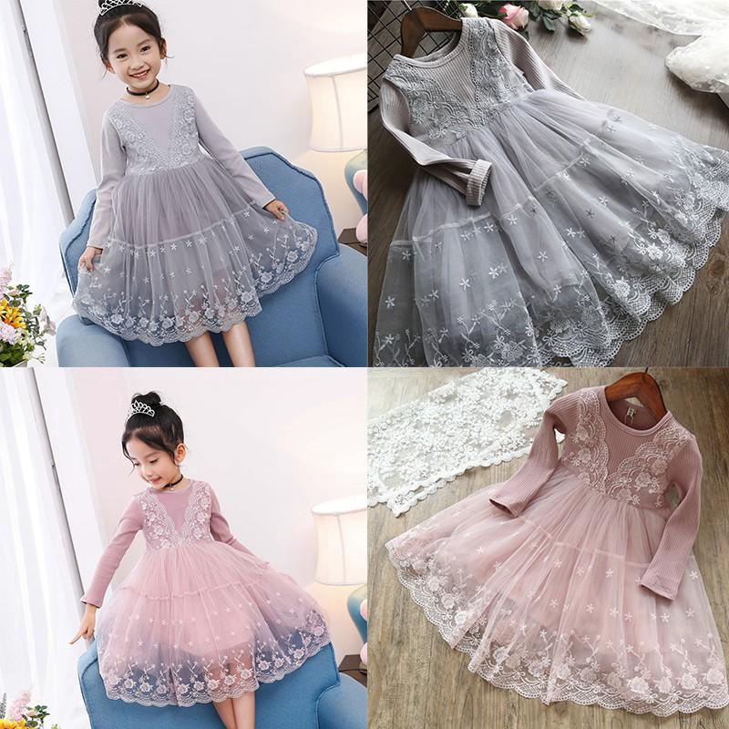 Korean Girls Spring Autumn Baby Girls Lace Dress Kids Long Sleeve Dress